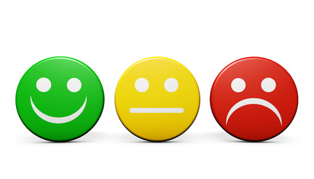 feedback icon: Customer service and product quality feedback concept with three emoticon icons and symbol on round badges isolated on white background.