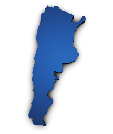 argentina map: Shape 3d of Argentina map colored in blue and isolated on white background. Stock Photo