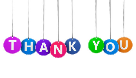 Thanks giving concept with thank you word and sign on colorful hanged tags isolated on white background.