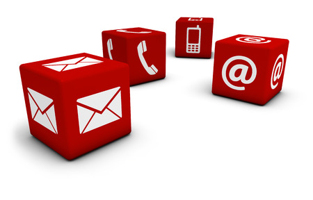 Web and Internet contact us concept with email, mobile phone and at icon and symbol on four red cubes for website, blog and on line business.