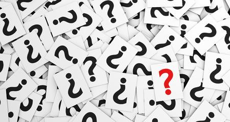 point d interrogation: Web et le contexte Internet concept avec une moltitute du signe d'interrogation, symbole et ic�ne sur des papiers blancs dispers�s.