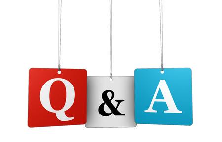 Fragen und Antworten Web-und Internet-Konzept mit q und einem Buchstaben und Zeichen auf gehängt Tags isoliert auf weißem Hintergrund. Standard-Bild - 34701855