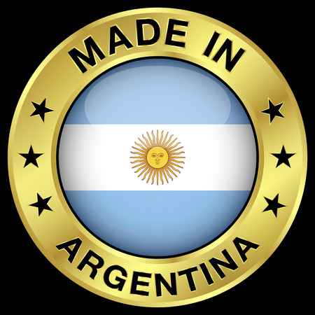 Made in Argentina gold badge and icon with central glossy Argentinian flag symbol and stars. Vector EPS 10 illustration isolated on black background. Vector