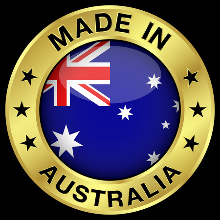 canberra: Made in Australia gold badge and icon with central glossy Australian flag symbol and stars. Vector EPS 10 illustration isolated on black background.