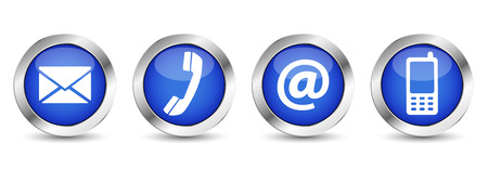 Neem contact met ons op knoppen voor het web instellen met e-mail, op, telefoon en mobiele pictogrammen op blauwe zilveren badge vector EPS-10 illustratie geïsoleerd op een witte achtergrond.