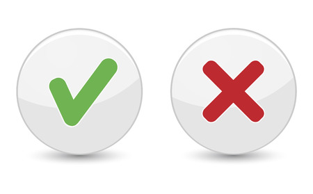 cruz roja: Sí o no hay botones con el símbolo verde de la marca de verificación y el icono de la cruz roja para el concepto del diseño aprobado y gráfico web EPS 10 ilustración vectorial aislados en fondo blanco. Vectores