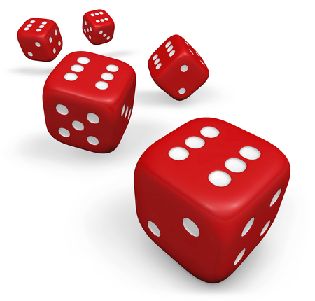backgammon: Rendering 3d of five rolling red dice showing number six illustration isolated on white background.