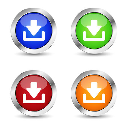 ebusiness: E-business and web buttons set with download symbol and icons on colorful silver badge vector.