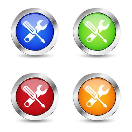 computer repair concept: Computer assistance and repair service concept with work tools icons and symbol buttons set on colorful silver badge vector.
