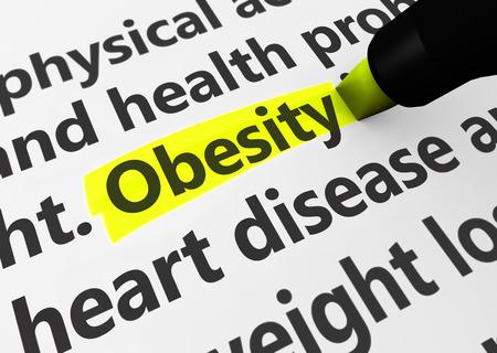 gordos: Concepto de enfermedad de la Salud con una representaci�n 3D de palabras m�dicas y texto obesidad resaltado con marcador amarillo.
