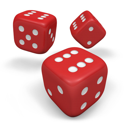 Rendering 3d of three rolling red dice showing number six illustration isolated on white background. illustration