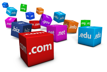 web hosting: Website and Internet domain names web concept with domains sign and text on colorful cubes isolated on white background.