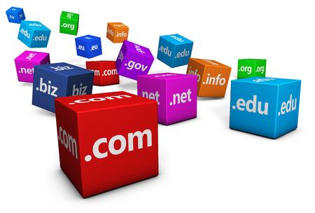 Website und Internet-Domain-Name Web-Konzept mit Domänen-Zeichen und Text auf bunten Würfel auf weißem Hintergrund.