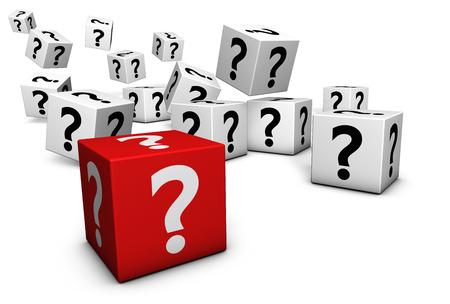 point d interrogation: Point d'interrogation et l'ic�ne sur des cubes, rendu 3D isol� sur fond blanc.