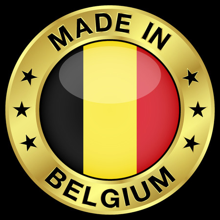 made in belgium: Made in Belgium gold badge and icon with central glossy Belgian flag symbol and stars. Vector illustration isolated on black background.