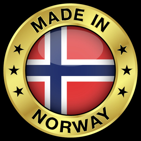 norwegian flag: Made in Norway gold badge and icon with central glossy Norwegian flag symbol and stars. Vector illustration isolated on black background.