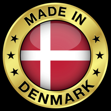 danish: Made in Denmark gold badge and icon with central glossy Danish flag symbol and stars. Vector illustration isolated on black background.