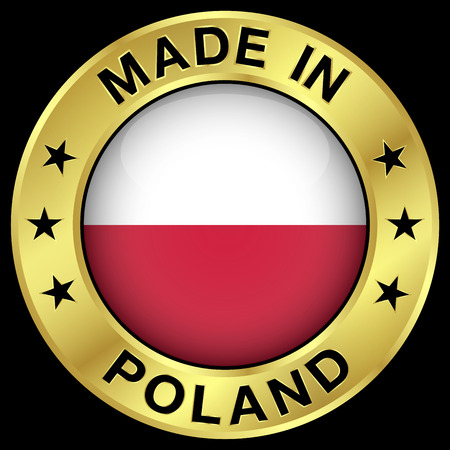 polish flag: Made in Poland gold badge and icon with central glossy Polish flag symbol and stars. Vector illustration isolated on black background.