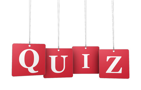 quizzes: Quiz word and sign on red hanged label tags isolated on white background. Stock Photo