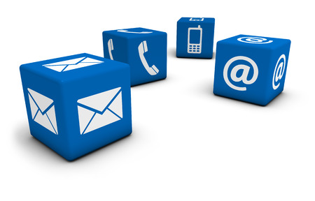 contact information: Web contact us Internet concept with email, mobile phone and at icon and symbol on four blue cubes for website, blog and on line business. Stock Photo