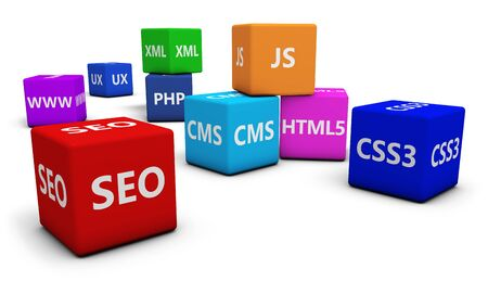 Web design, Internet and SEO concept with programming language sign on colorful cubes isolated on white background. photo