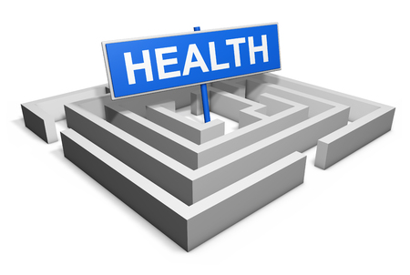 health care decisions: Healthy lifestyle achievement concept with a labyrinth and a blue goal sign with health text isolated on white background.