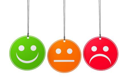 Kundendienst und Produktqualität-Umfrage-Konzept mit drei Emoticon-Symbole und Symbol auf runden Abzeichen auf weißem Hintergrund. Standard-Bild - 36635925