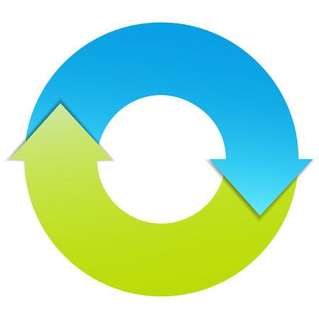 dois: Duas setas plano de negócios ciclo diagrama infográfico