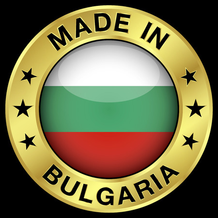 bulgarian: Made in Bulgaria gold badge and icon with central glossy Bulgarian flag symbol and stars. Vector EPS 10 illustration isolated on black background.