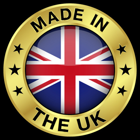 Made In The United Kingdom gold badge and icon with central glossy UK flag symbol and stars. Vector EPS 10 illustration isolated on black background.