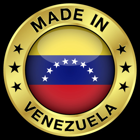 venezuelan: Hecho en Venezuela insignia de oro y el icono con brillante s�mbolo de la bandera de Venezuela central y estrellas. Vector EPS 10 ilustraci�n aislado sobre fondo negro.