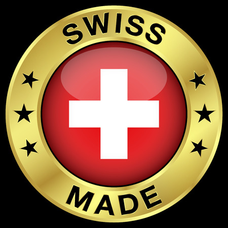swiss insignia: Made in Switzerland gold badge and icon with central glossy Swiss flag symbol and stars. Vector EPS 10 illustration isolated on black background. Illustration