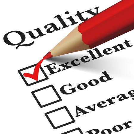 Kwaliteitscontrole zakelijke producten en klantenservice checklist met uitstekende woord gecontroleerd met een rood vinkje EPS 10 vector illustratie op witte achtergrond.