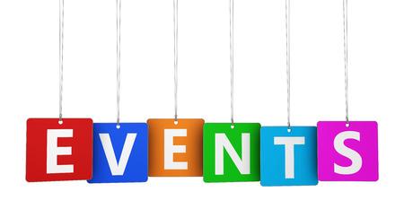 Webseite, Internet und Blog-Konzept mit Ereignissen Wort und Zeichen auf bunten gehängt Tags auf weißem Hintergrund. Standard-Bild - 37208310