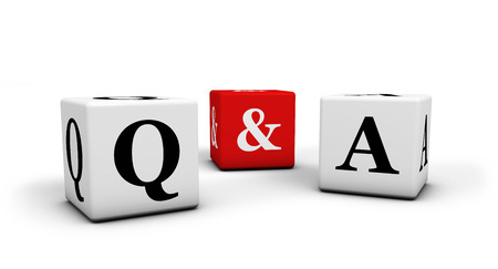 contact center: Question and answer, web faq and business contact center support concept with q & a letters on white and red cubes isolated on white background.