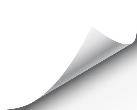 bordure de page: Page curl avec l'ombre sur une feuille de papier vierge