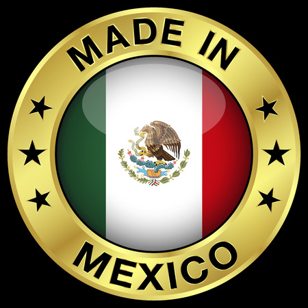 Made In Mexico gold badge and icon with central glossy Mexican flag symbol and stars. Vector EPS 10 illustration isolated on black background. Illustration