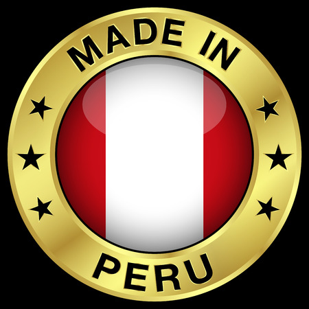 Made in Peru gold badge and icon with central glossy Peruvian flag symbol and stars. Vector EPS 10 illustration isolated on black background.