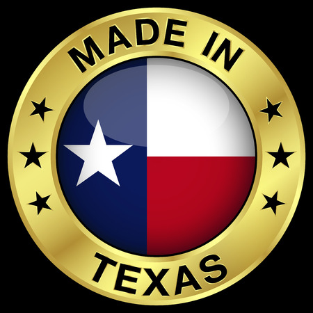 texan: Made in Texas gold badge and icon with central glossy Texan flag symbol and stars. Vector EPS 10 illustration isolated on black background.