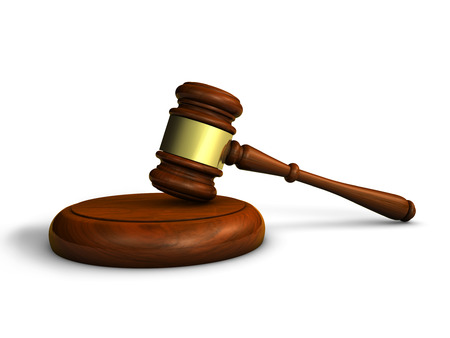 lawer: Law, justice and judge concept with a 3d rendering of a gavel on white background. Stock Photo