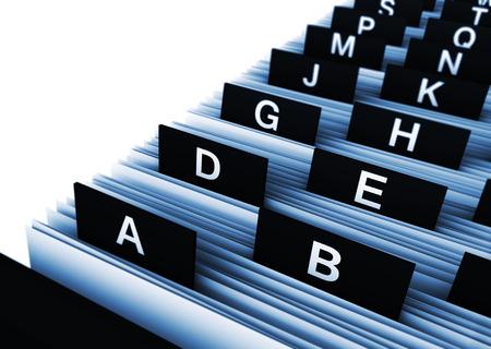 Concetto di business con il rendering 3d vista ravvicinata di un archivio directory clienti ufficio con le lettere dell'alfabeto.