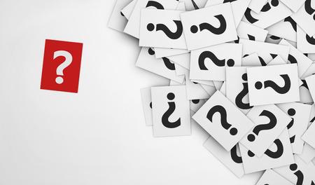 Les questions d'affaires avec un concept de point d'interrogation sur un papier rouge et une multitude de points d'interrogation apposer sur des papiers blancs dispersés. Banque d'images - 37393758