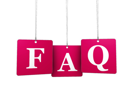 questioning: Website support, questioning and help concept with red FAQ sign on tags isolated on white background. Stock Photo