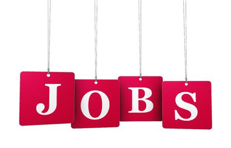 Beschäftigung, der Arbeit und Arbeitsplatzkonzept mit Arbeitsplätzen Zeichen auf Rot-Tags für Website und Online-Geschäft. Lizenzfreie Bilder