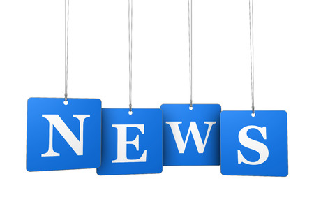 Nachrichtensendung, Sendung und Newsletter-Konzept mit News Zeichen auf blauem Tags für Website und Online-Geschäft. Standard-Bild