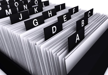 Business concept with a 3d rendering close-up view of a office customers file and documents directory archive with alphabet letters.