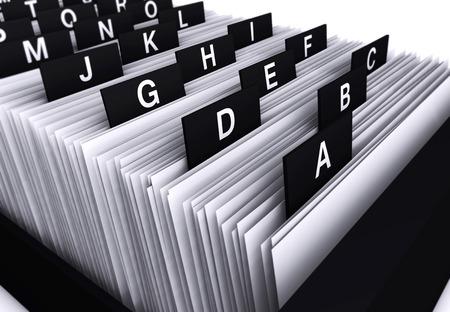 Business-Konzept mit einem 3D-Rendering-Nahaufnahme von einem Büro Kunden-Datei und Dokumenten-Verzeichnis Archiv mit Buchstaben des Alphabets.