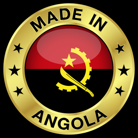 angola: Made in Angola gold badge and icon with central glossy Angolan flag symbol and stars. Vector EPS 10 illustration isolated on black background.