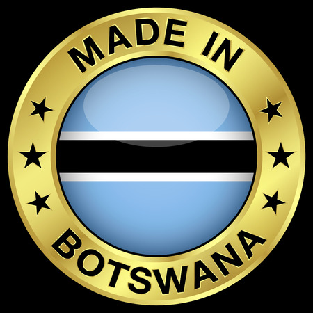 botswana: Made in Botswana gold badge and icon with central glossy Batswana flag symbol and stars. Vector EPS 10 illustration isolated on black background.