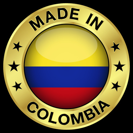 Made in Colombia gold badge and icon with central glossy Colombian flag symbol and stars. Vector EPS 10 illustration isolated on black background. Vector